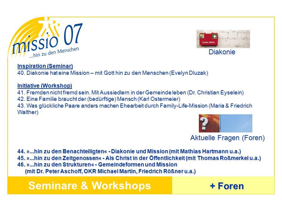 Seminare & Workshops + Foren Diakonie Aktuelle Fragen (Foren)