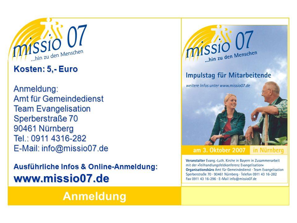 Anmeldung Kosten: 5,- Euro Anmeldung: Amt für Gemeindedienst