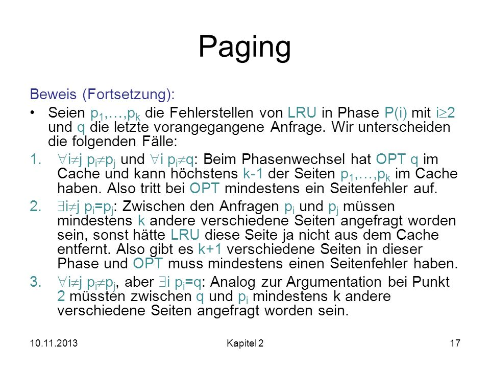 Paging Beweis (Fortsetzung):