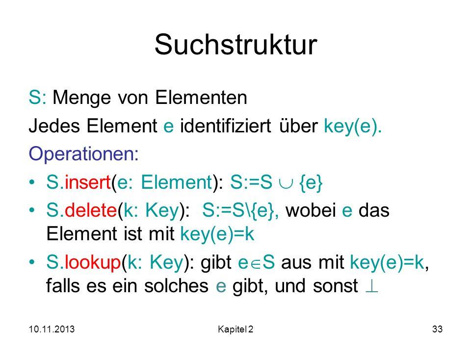 Suchstruktur S: Menge von Elementen