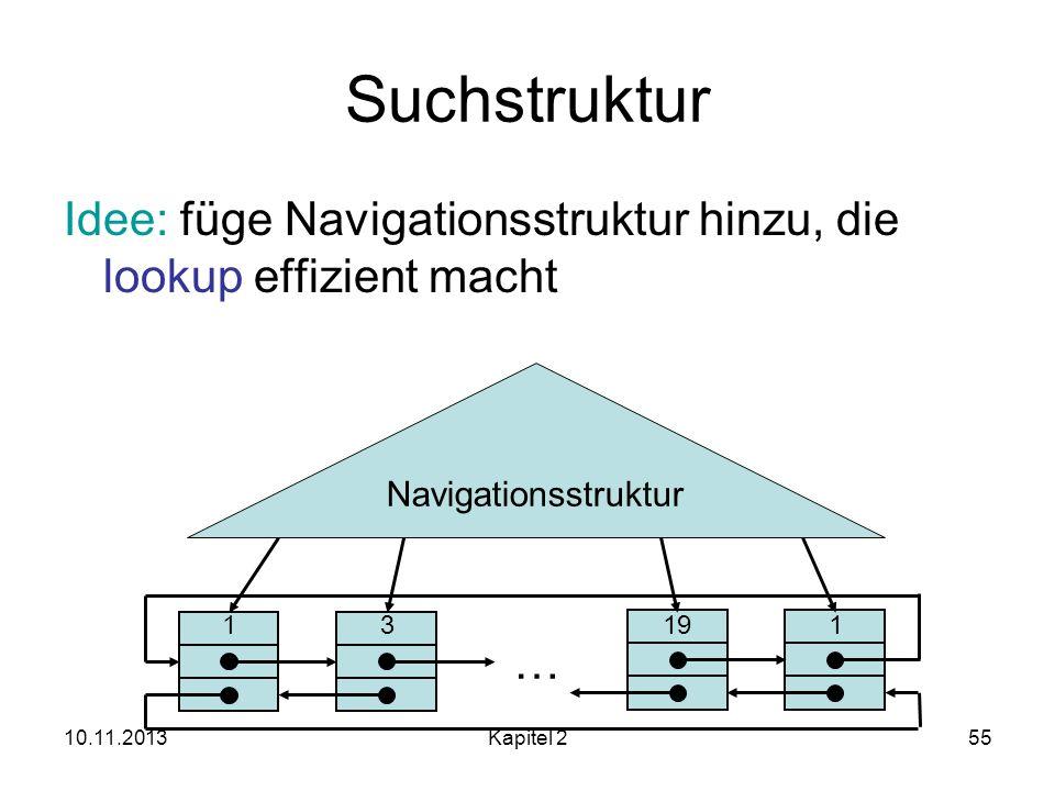 Suchstruktur Idee: füge Navigationsstruktur hinzu, die lookup effizient macht. Navigationsstruktur.