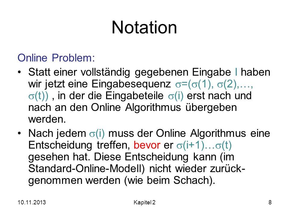 Notation Online Problem: