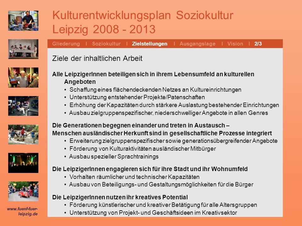 Kulturentwicklungsplan Soziokultur Leipzig 2008 - 2013