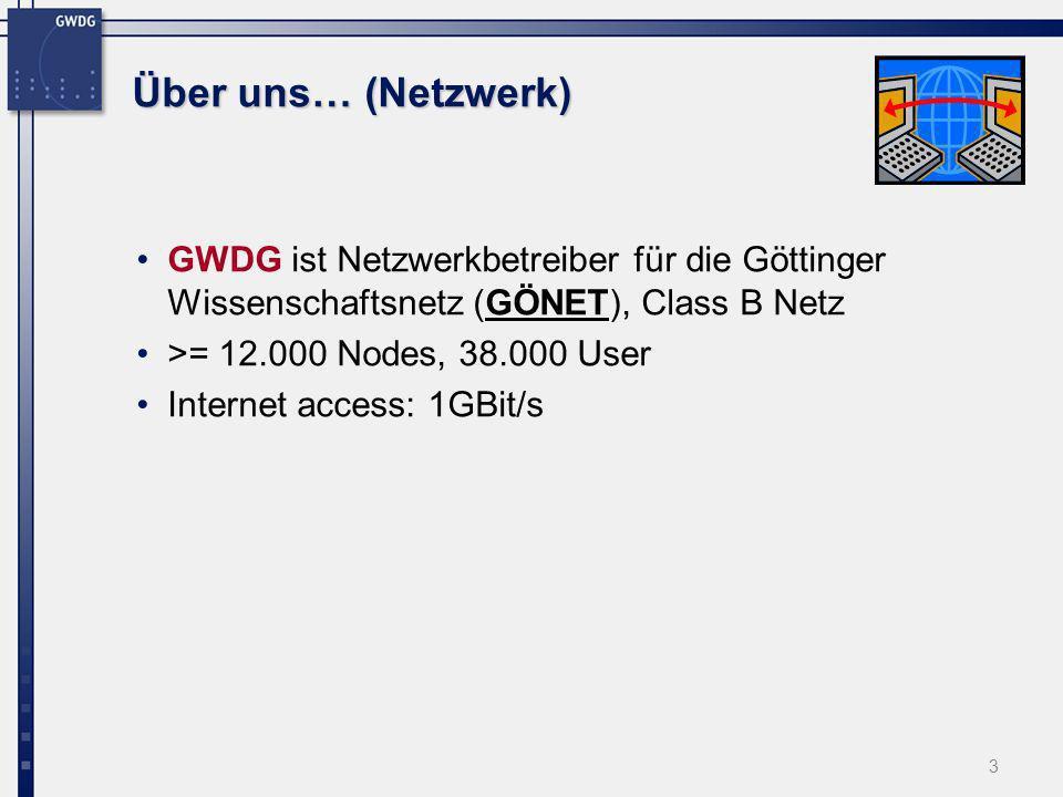 Über uns… (Netzwerk) GWDG ist Netzwerkbetreiber für die Göttinger Wissenschaftsnetz (GÖNET), Class B Netz.