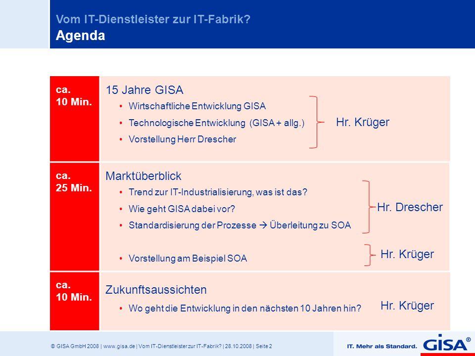 Agenda 15 Jahre GISA Marktüberblick Hr. Krüger Zukunftsaussichten