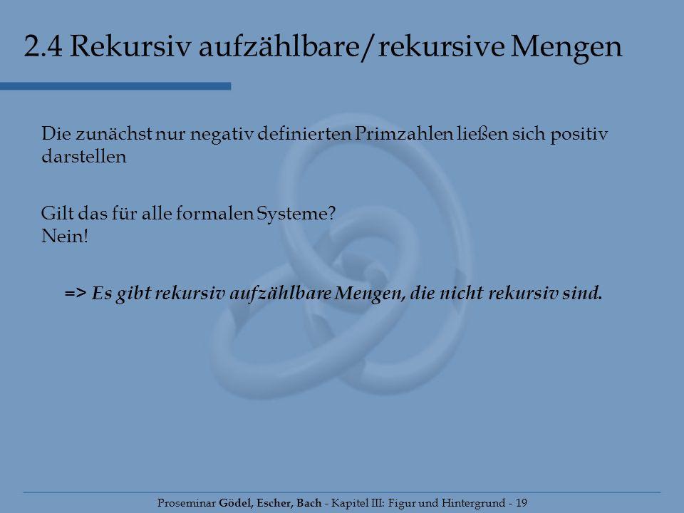 2.4 Rekursiv aufzählbare/rekursive Mengen