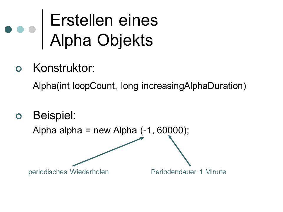 Erstellen eines Alpha Objekts