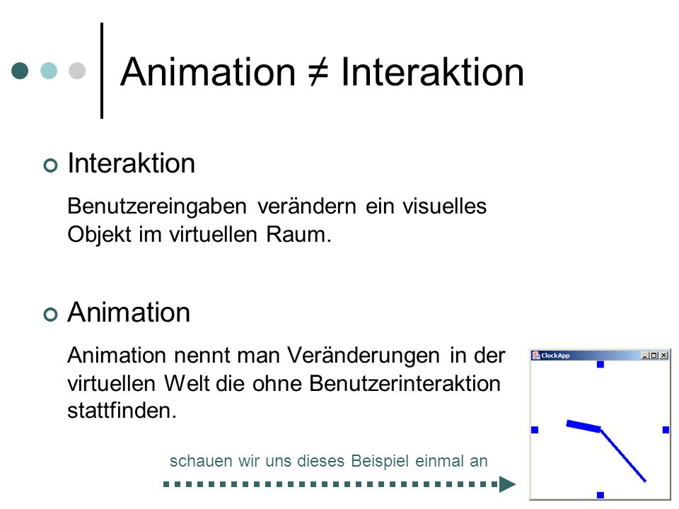 Animation ≠ Interaktion