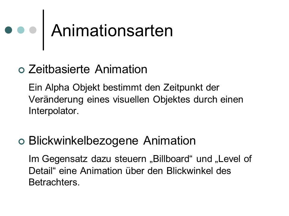 Animationsarten Zeitbasierte Animation