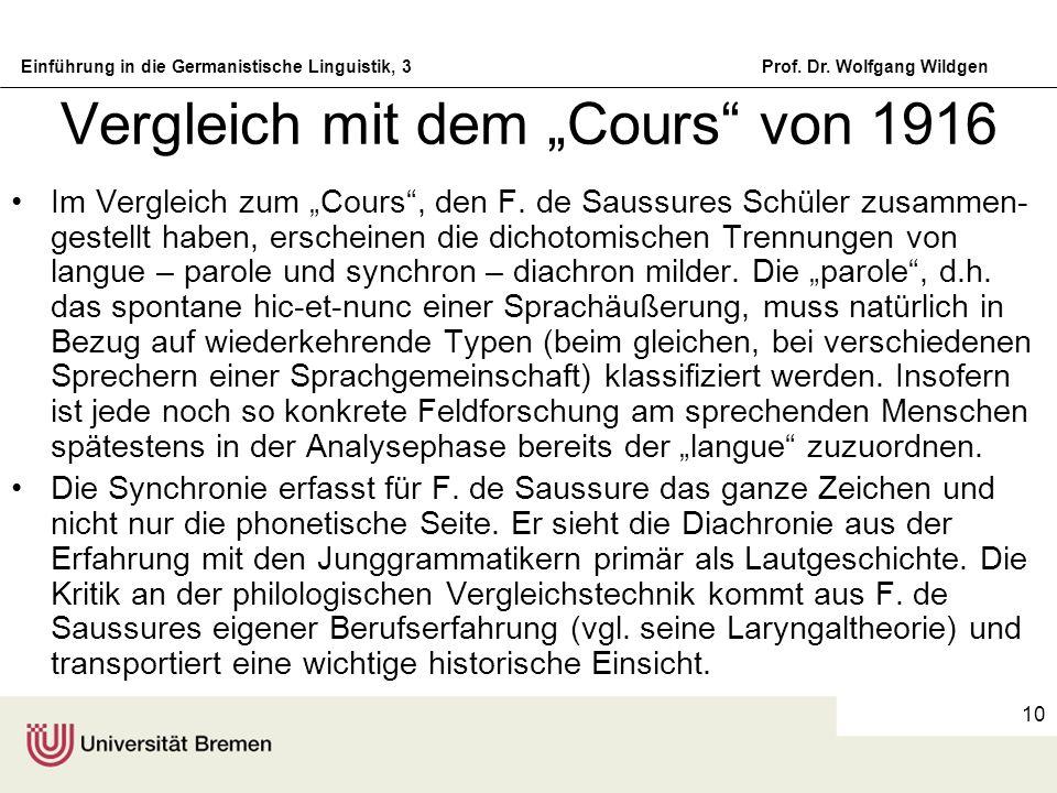 """Vergleich mit dem """"Cours von 1916"""