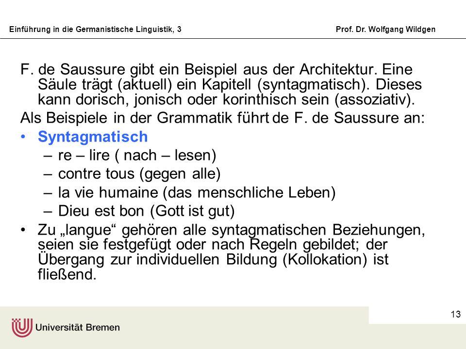 F. de Saussure gibt ein Beispiel aus der Architektur