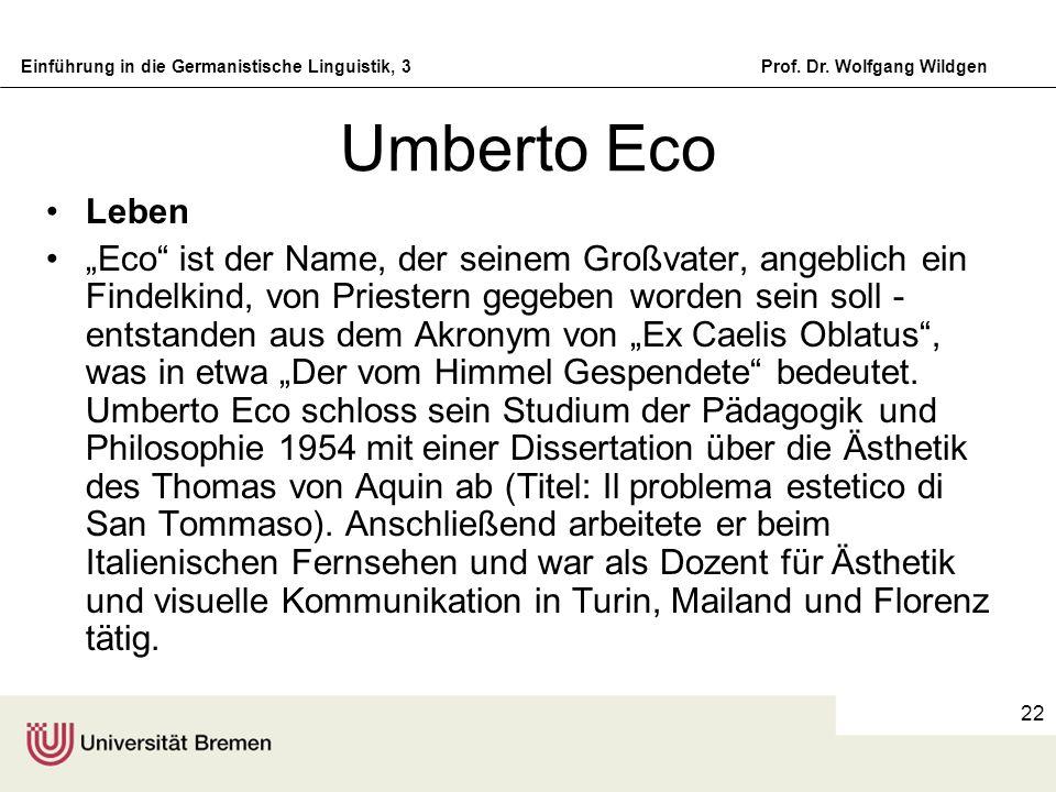 Umberto Eco Leben.