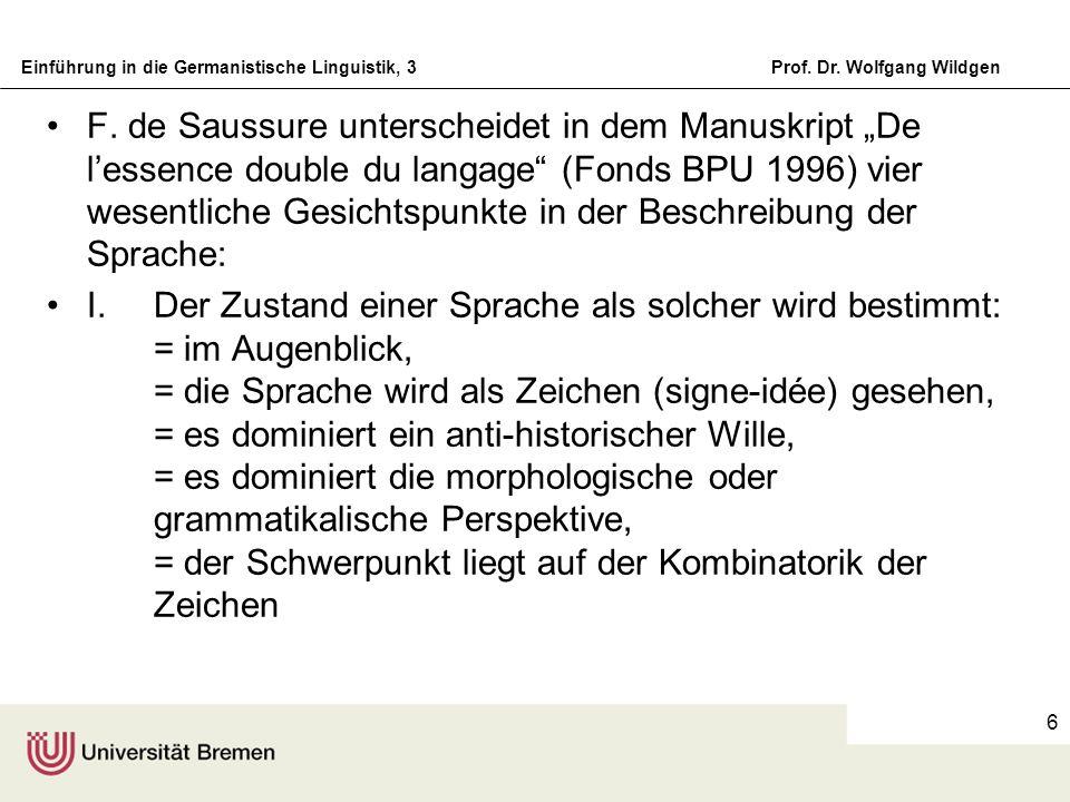 """F. de Saussure unterscheidet in dem Manuskript """"De l'essence double du langage (Fonds BPU 1996) vier wesentliche Gesichtspunkte in der Beschreibung der Sprache:"""