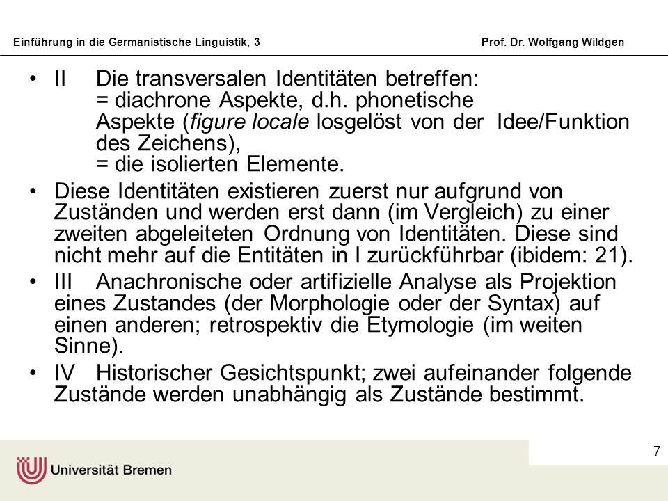 II Die transversalen Identitäten betreffen: = diachrone Aspekte, d.h. phonetische Aspekte (figure locale losgelöst von der Idee/Funktion des Zeichens), = die isolierten Elemente.