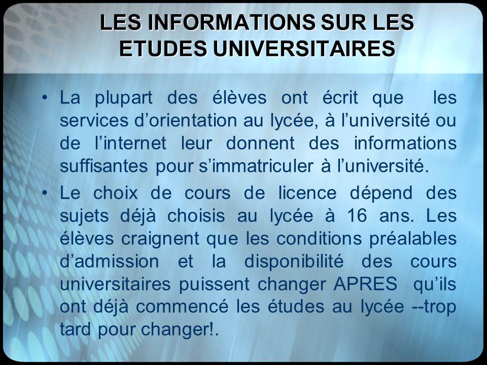LES INFORMATIONS SUR LES ETUDES UNIVERSITAIRES
