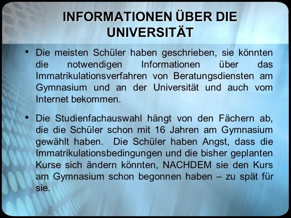 INFORMATIONEN ÜBER DIE UNIVERSITÄT