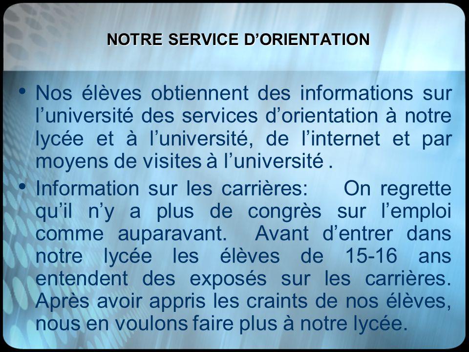 NOTRE SERVICE D'ORIENTATION