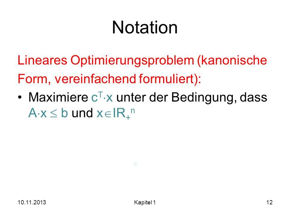 Notation Lineares Optimierungsproblem (kanonische