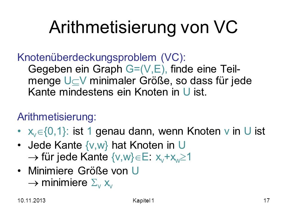 Arithmetisierung von VC