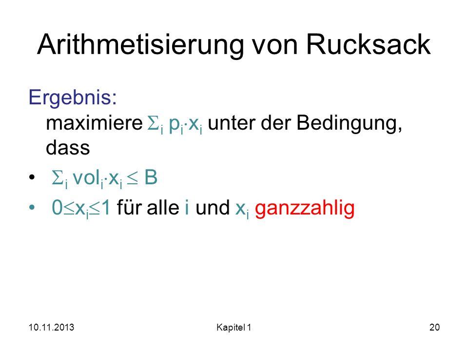 Arithmetisierung von Rucksack