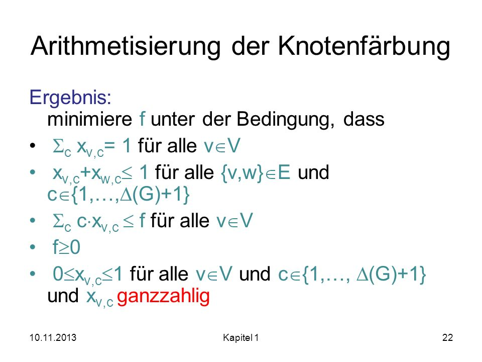 Arithmetisierung der Knotenfärbung
