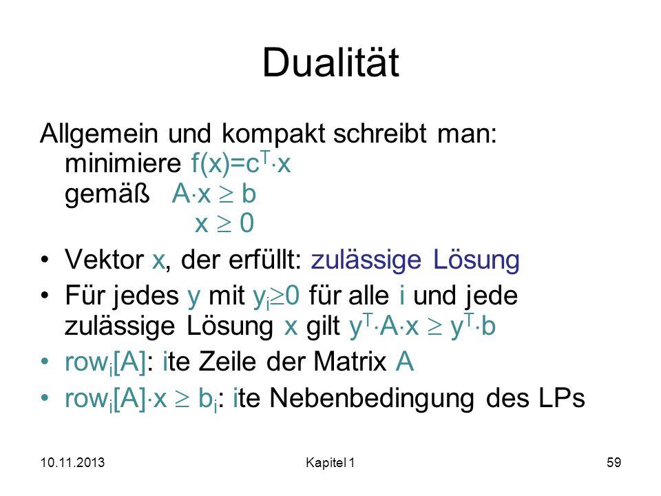 DualitätAllgemein und kompakt schreibt man: minimiere f(x)=cTx gemäß Ax  b x  0. Vektor x, der erfüllt: zulässige Lösung.