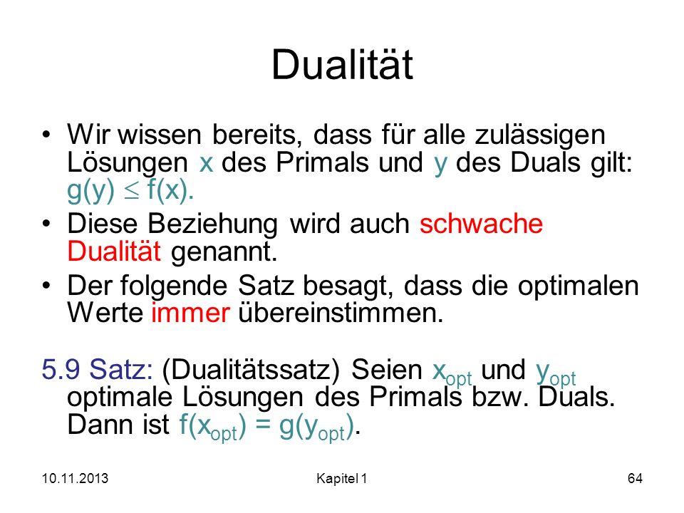 Dualität Wir wissen bereits, dass für alle zulässigen Lösungen x des Primals und y des Duals gilt: g(y)  f(x).
