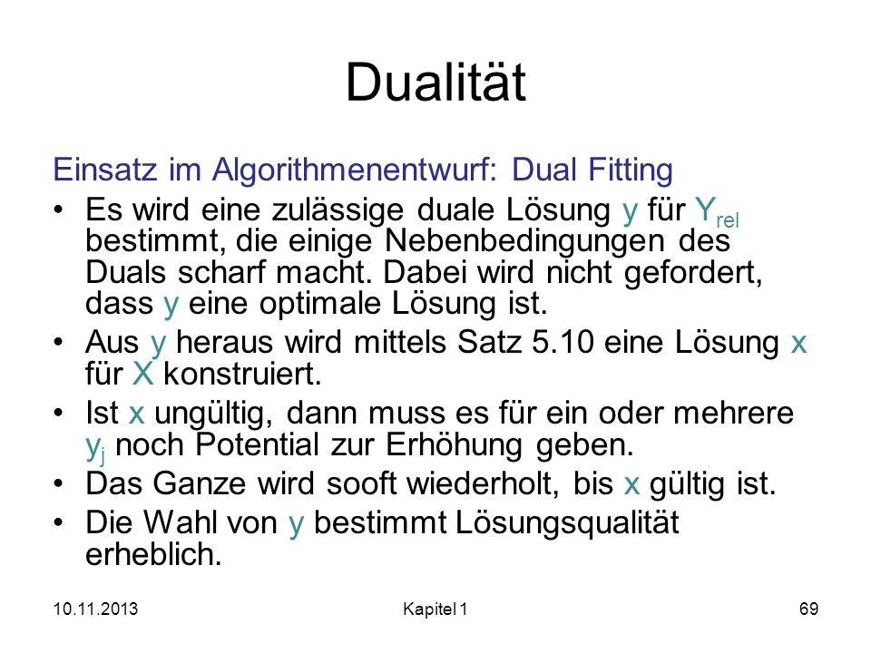 Dualität Einsatz im Algorithmenentwurf: Dual Fitting