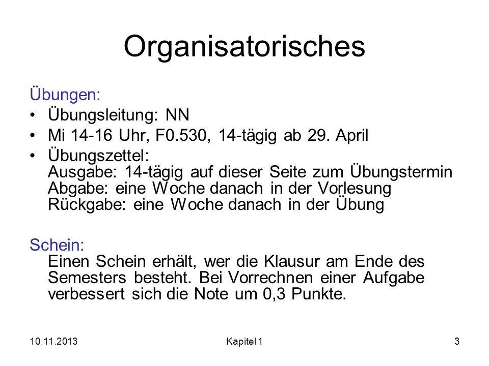 Organisatorisches Übungen: Übungsleitung: NN