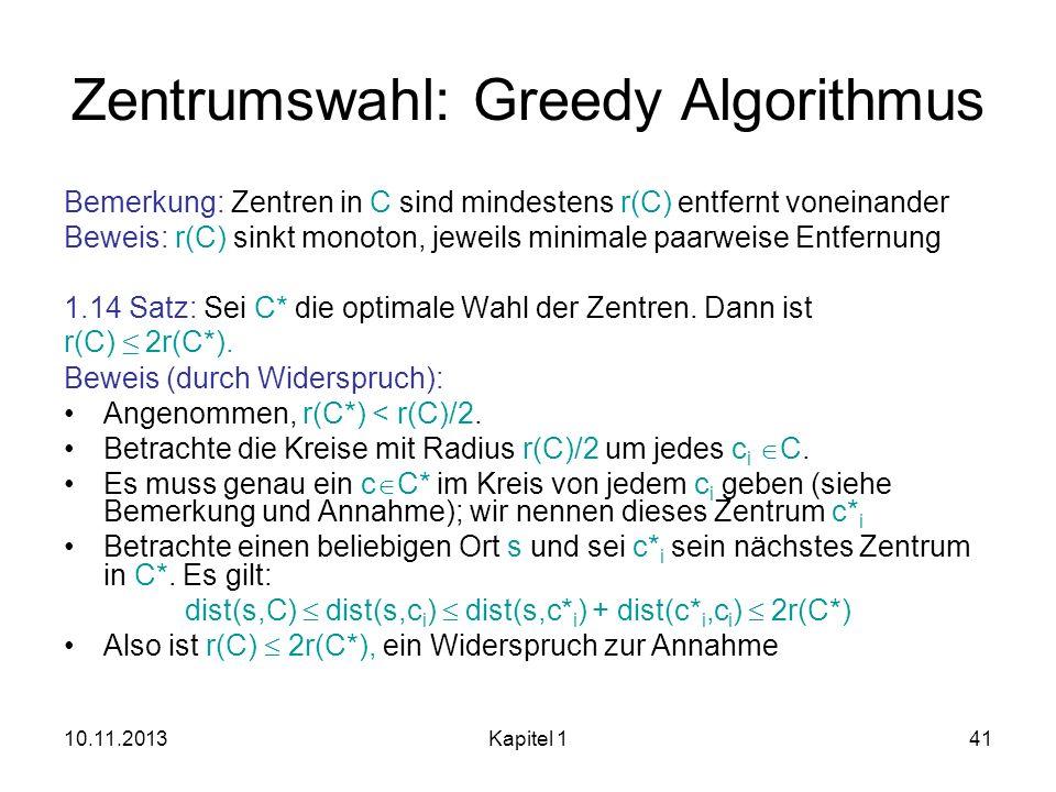 Zentrumswahl: Greedy Algorithmus
