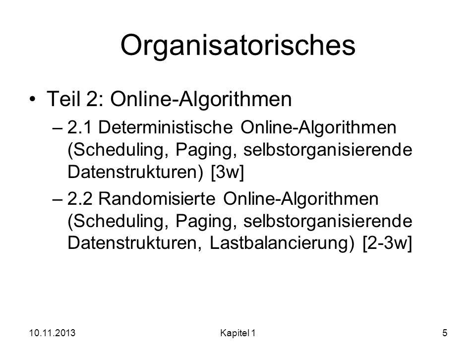 Organisatorisches Teil 2: Online-Algorithmen
