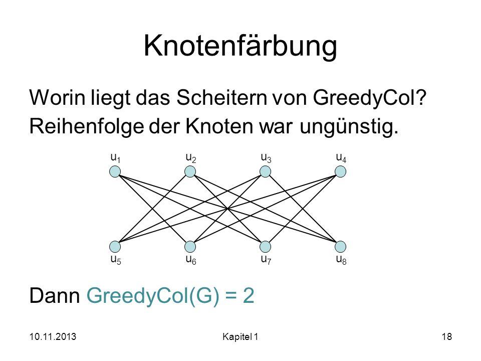 Knotenfärbung Worin liegt das Scheitern von GreedyCol Reihenfolge der Knoten war ungünstig. Dann GreedyCol(G) = 2