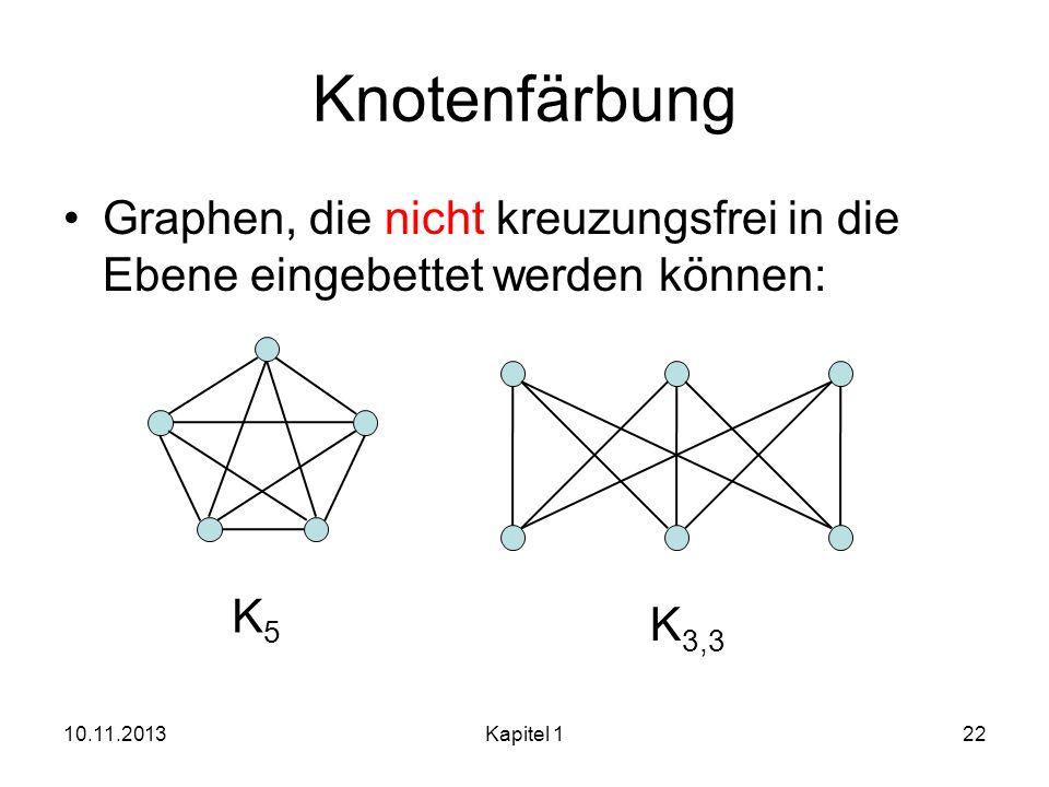 Knotenfärbung Graphen, die nicht kreuzungsfrei in die Ebene eingebettet werden können: K5. K3,3. 25.03.2017.