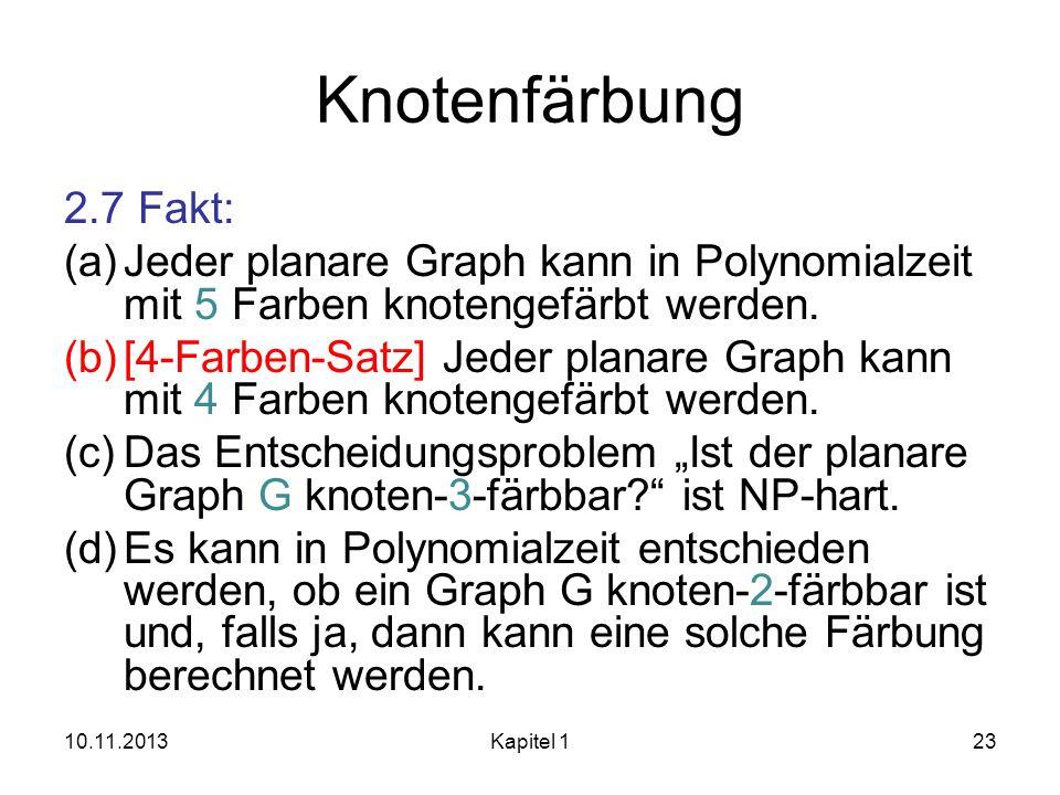 Knotenfärbung 2.7 Fakt: Jeder planare Graph kann in Polynomialzeit mit 5 Farben knotengefärbt werden.