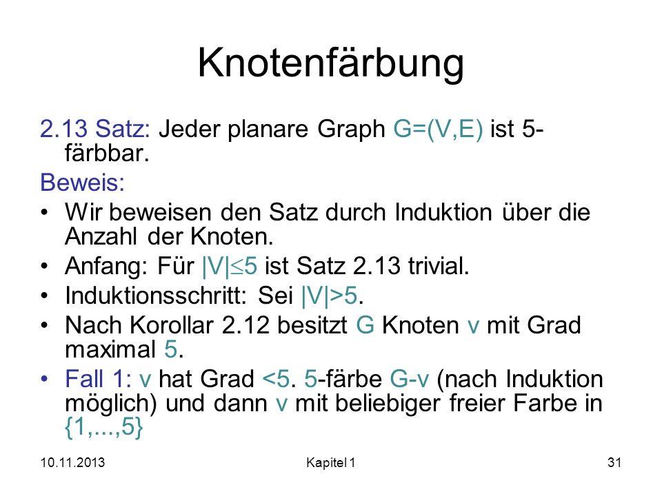 Knotenfärbung 2.13 Satz: Jeder planare Graph G=(V,E) ist 5-färbbar.