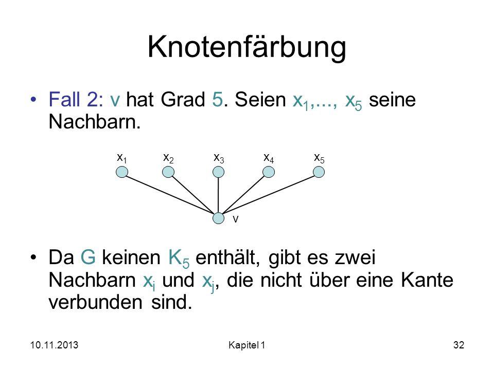 Knotenfärbung Fall 2: v hat Grad 5. Seien x1,..., x5 seine Nachbarn.