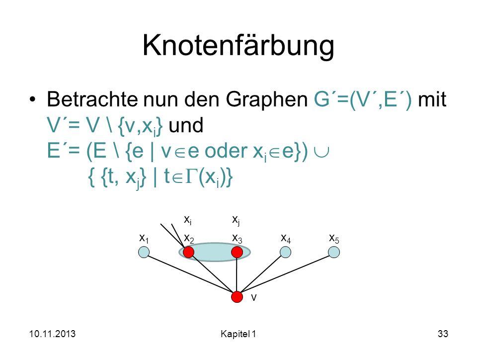 Knotenfärbung Betrachte nun den Graphen G´=(V´,E´) mit V´= V \ {v,xi} und E´= (E \ {e | ve oder xie})  { {t, xj} | tG(xi)}