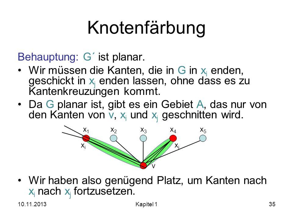 Knotenfärbung Behauptung: G´ ist planar.