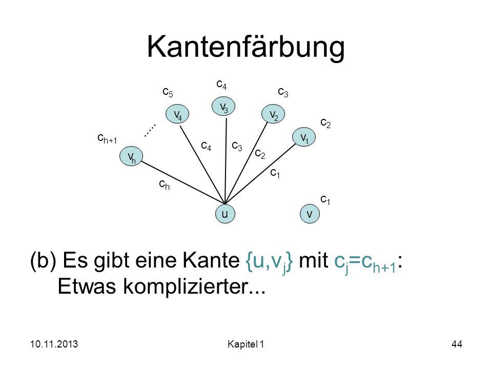 Kantenfärbungc4. c5. c3. (b) Es gibt eine Kante {u,vj} mit cj=ch+1: Etwas komplizierter... v. 3. v.