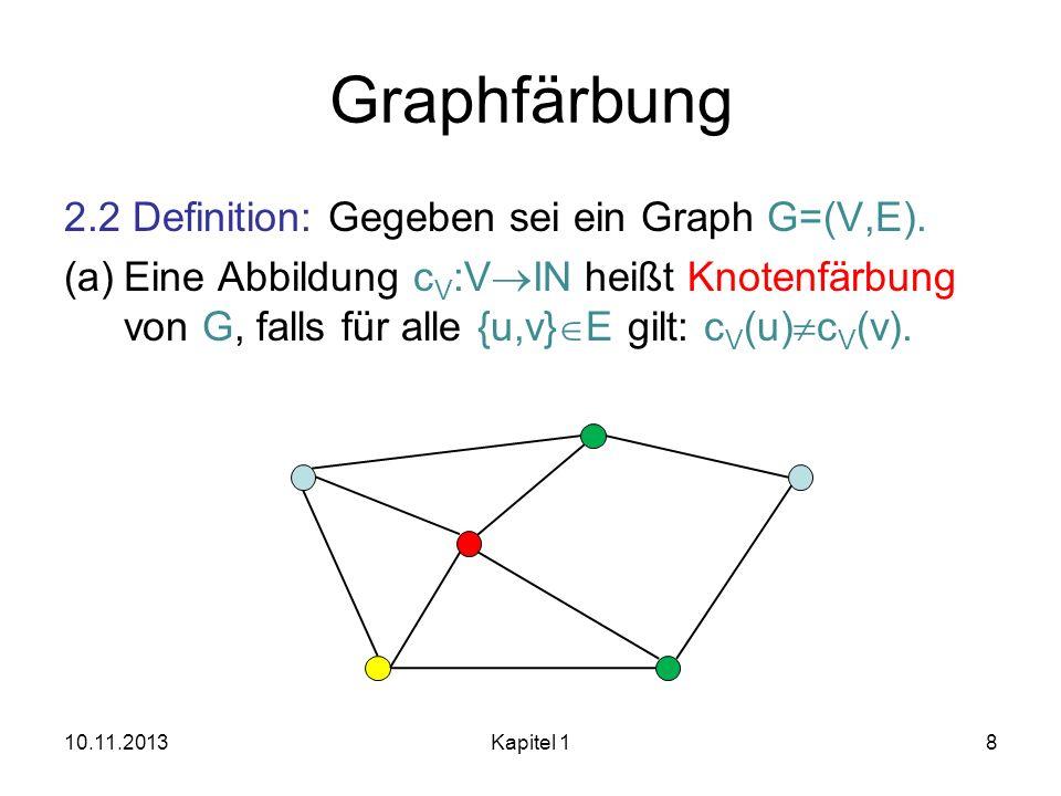 Graphfärbung 2.2 Definition: Gegeben sei ein Graph G=(V,E).