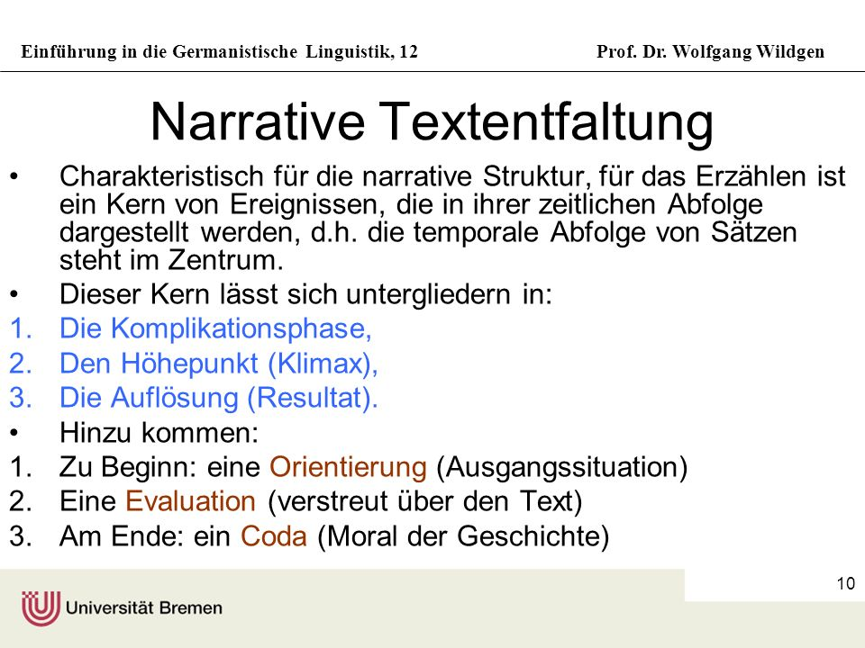 Narrative Textentfaltung