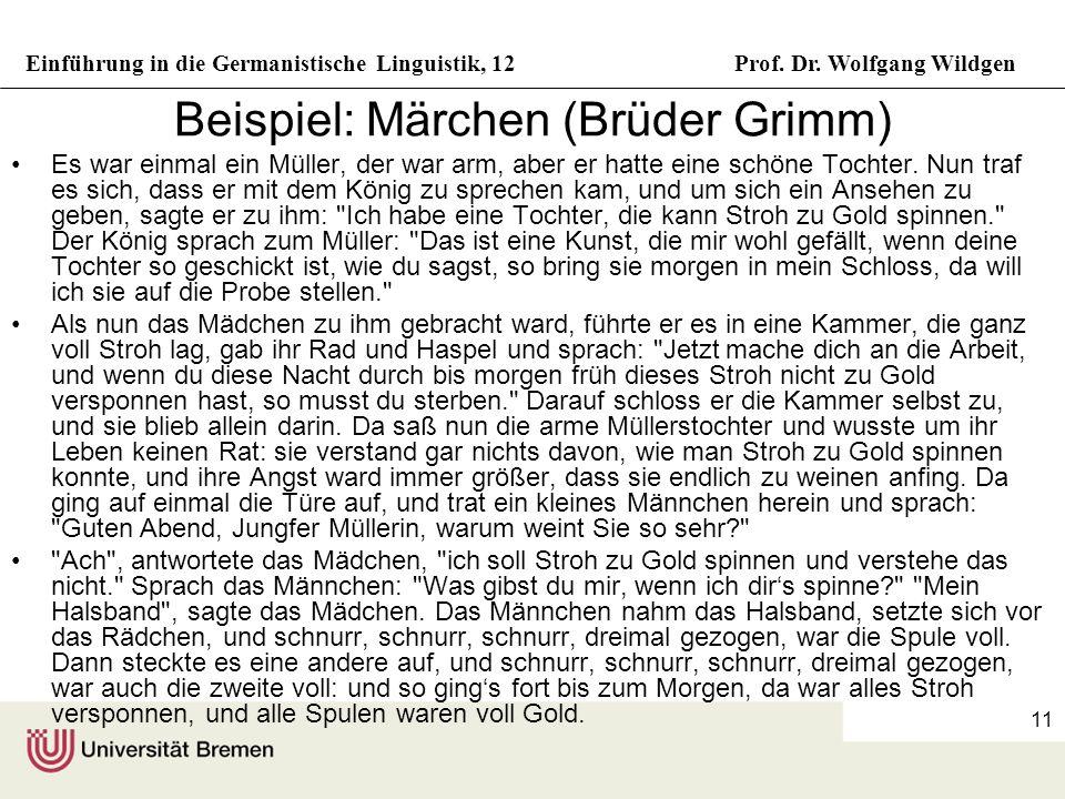 Beispiel: Märchen (Brüder Grimm)