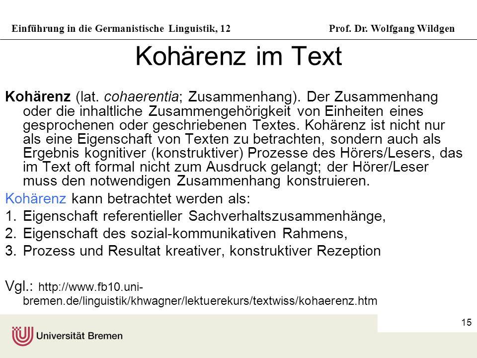 Kohärenz im Text