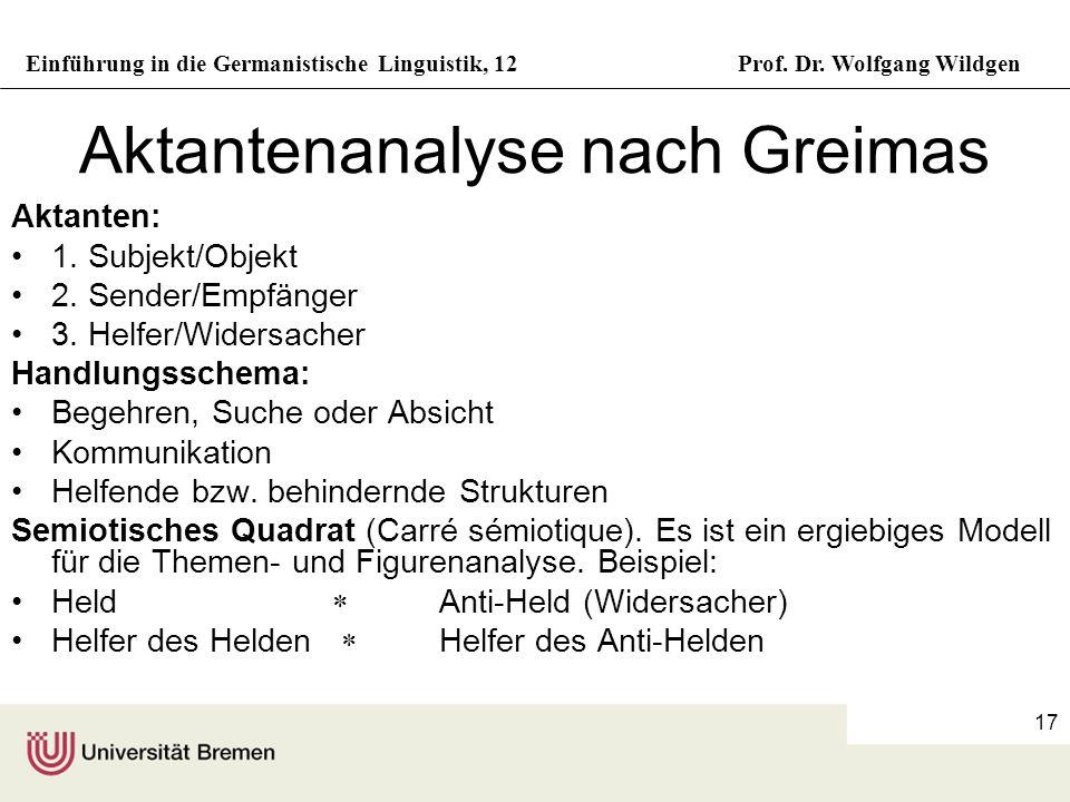 Aktantenanalyse nach Greimas
