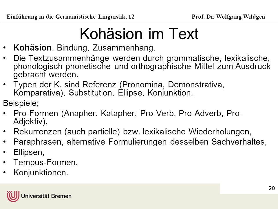 Kohäsion im Text Kohäsion. Bindung, Zusammenhang.