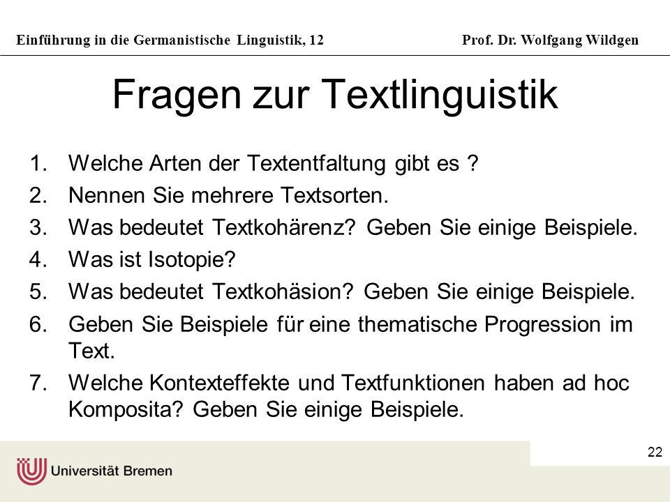 Fragen zur Textlinguistik