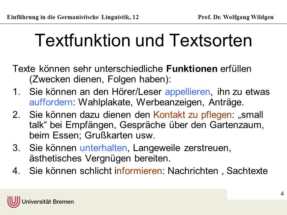 Textfunktion und Textsorten