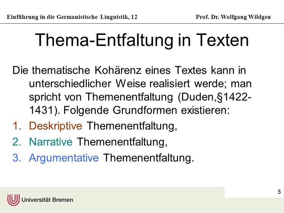 Thema-Entfaltung in Texten