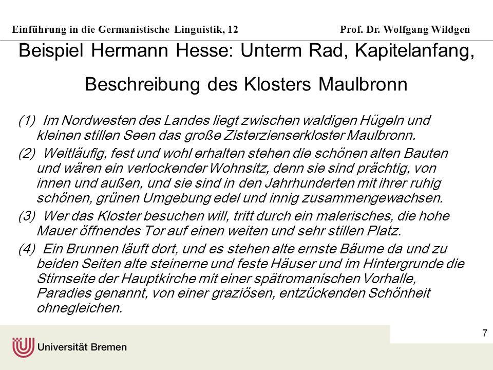 Beispiel Hermann Hesse: Unterm Rad, Kapitelanfang, Beschreibung des Klosters Maulbronn
