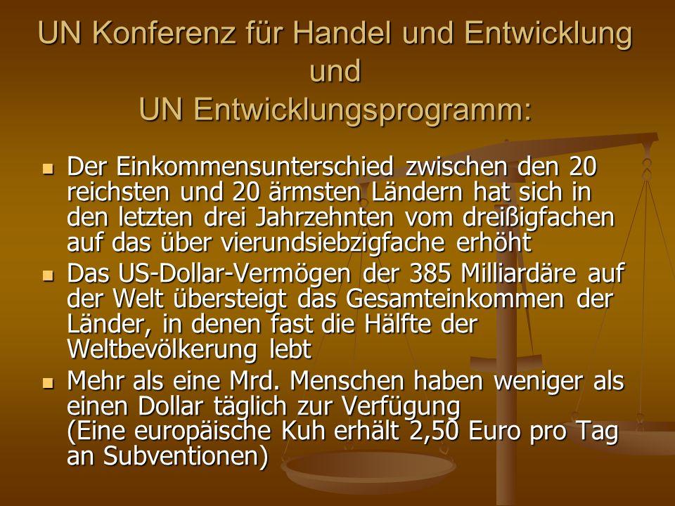 UN Konferenz für Handel und Entwicklung und UN Entwicklungsprogramm: